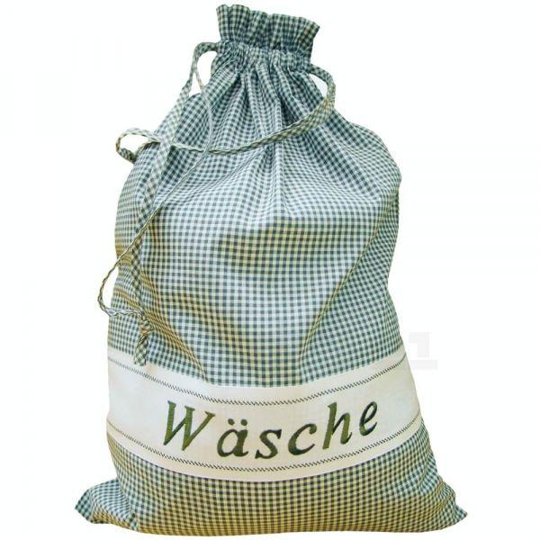 Wäschesack Wäschebeutel Landhaus grün weiß kariert & Herz Wäsche Sack 45x65 cm
