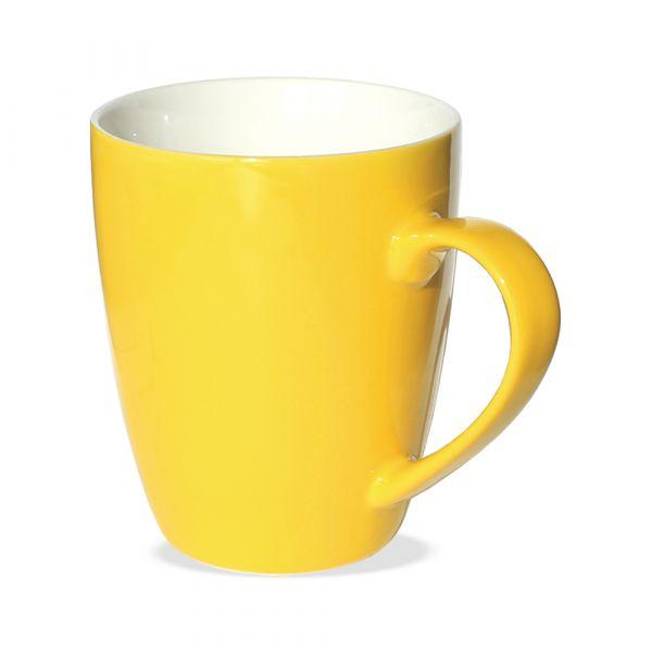 Tasse Becher Kaffeebecher gelb 1 Stk 10cm 350ml Porzellan B-WARE
