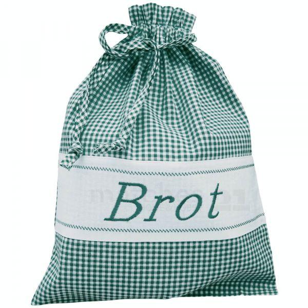 Brotbeutel Stoff Landhaus grün weiß kariert & Herz Stoffbeutel Sack 30x40 cm