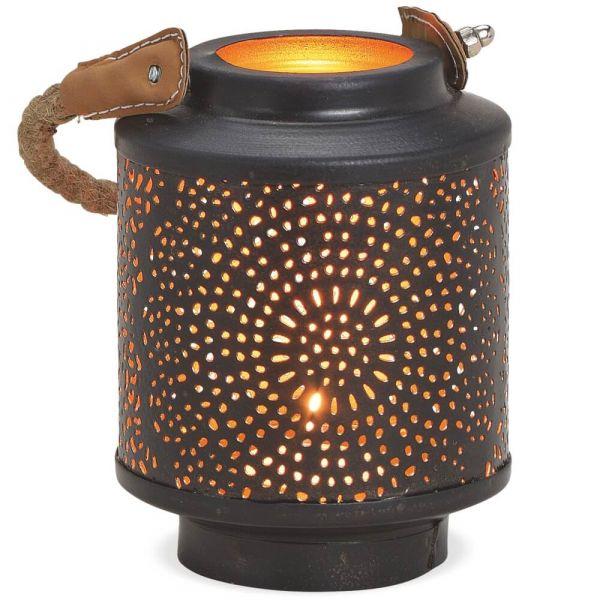 Windlichter Kerzenhalter konisch Lochmuster & Kordel – schwarz gold – 2 Größen