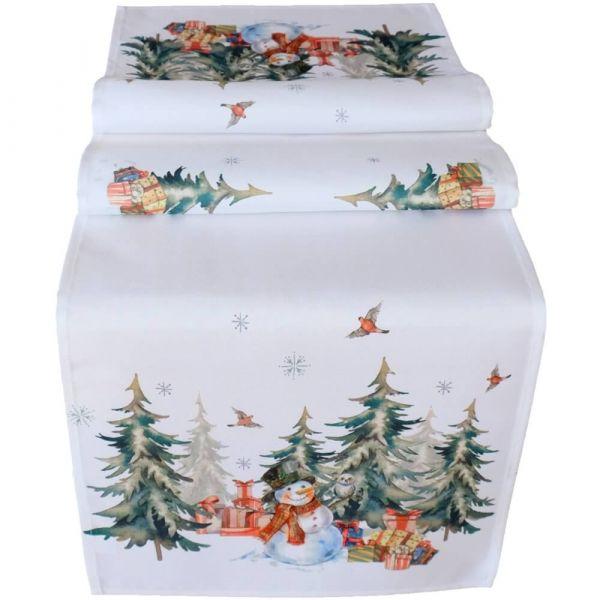 Mitteldecke Tischläufer Weihnachten Schneemann Wald weiß Druck bunt 40x140 cm