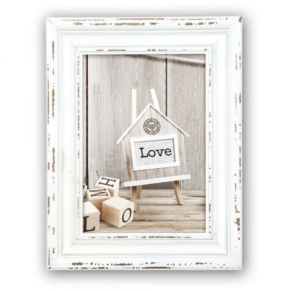 Bilderrahmen Wechselrahmen Foto Rahmen Holz weiß Shabby Style & Kette 10x15 cm