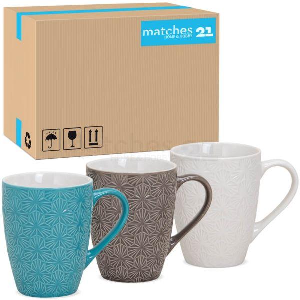 Tassen Becher Kaffeebecher Retro Motiv Keramik türkis braun weiß 36 Stk Karton 10 cm