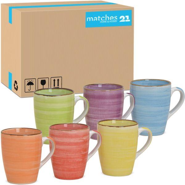Kaffeetassen Steingut Landhausstil farbenfroher Mix 36 Stk Karton 10 cm 340 ml