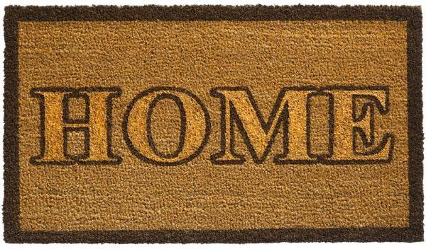 Fußmatte Kokos Indoor Abstreifer Schrift HOME - 40x70 cm 1 Stk - Natur / Gold