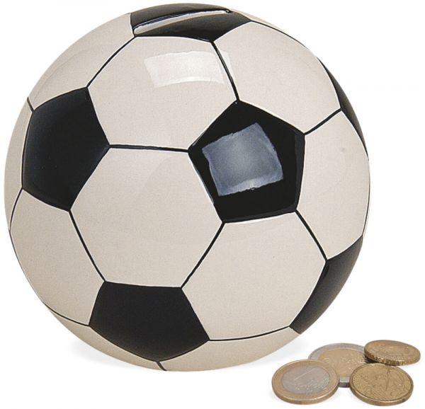 Spardose Fußball Ball Sparbüchse Geldgeschenk Keramik schwarz weiß Ø 13 cm