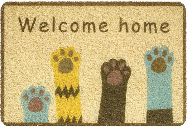 Fußmatte Türmatte Türvorleger Vinyl Outdoor beige Welcome Home Tatzen 40x60 cm