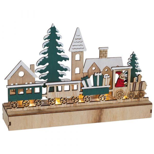 Weihnachtsleuchter Holz LED Fensterleuchter weihnachtlicher Zug 22 cm