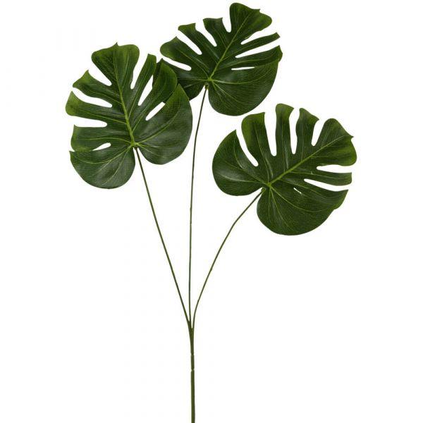 Monstera Splitphiloblatt Blatt Zweig Kunstpflanze Dekoblatt - 1 Stk 71 cm grün