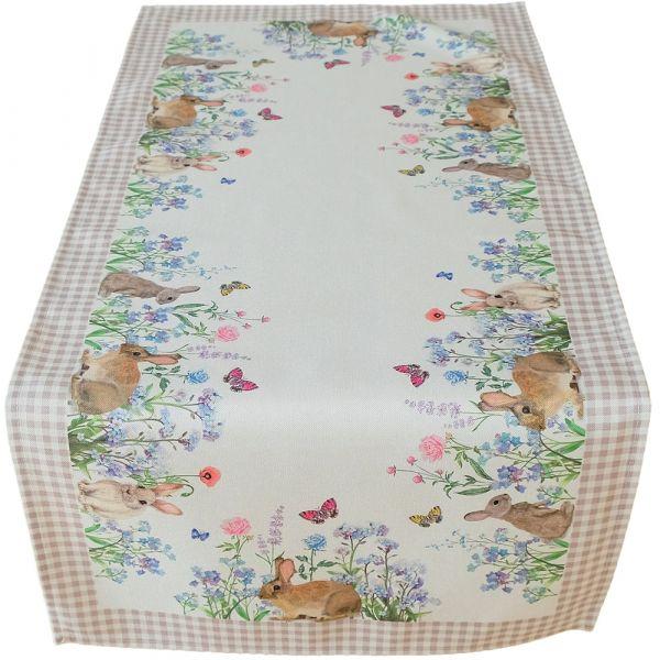 Tischläufer Mitteldecke Osterhasen & Wiese & Karo Bordüre Tischwäsche 40x90 cm