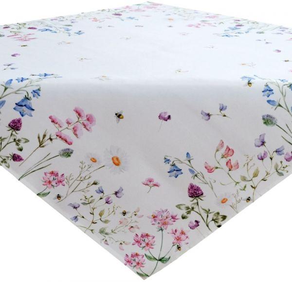 Tischdecke Mitteldecke Tischwäsche Wiesenblumen Blumen Blüten bunt 85x85 cm