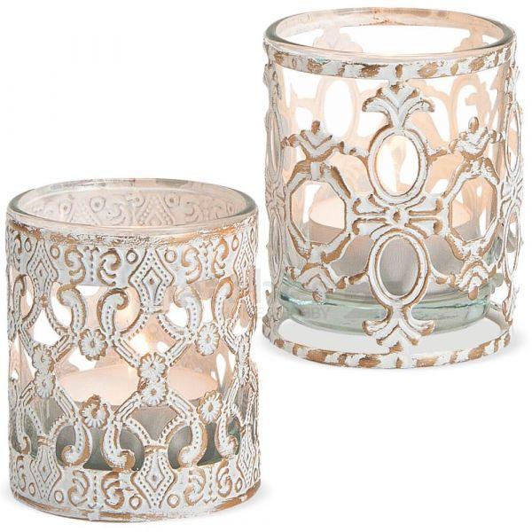 Kerzengläser Windlichter Teelichtgläser Barock Ornament vintage weiß 2er klein