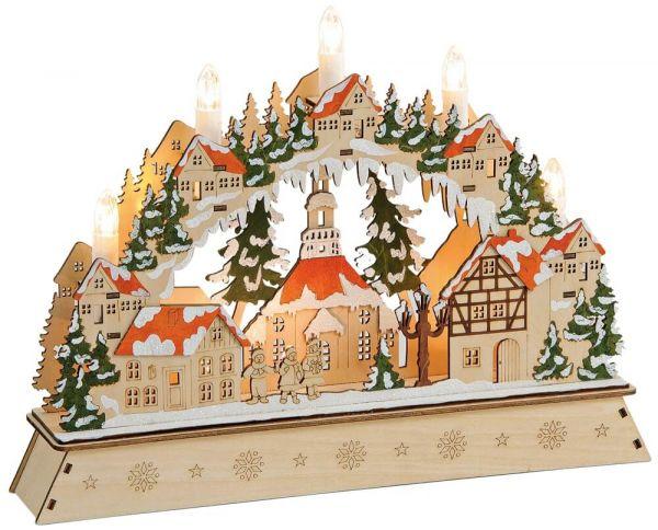 Schwibbogen 3D Lichterbogen Dorf & Tannenbäume LED Kerzen Weihnachtsdeko 35 cm
