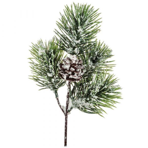 Tannenzweig Dekozweig Tanne Zapfen Zweig Kunstpflanze Schnee Weihnachten 32 cm