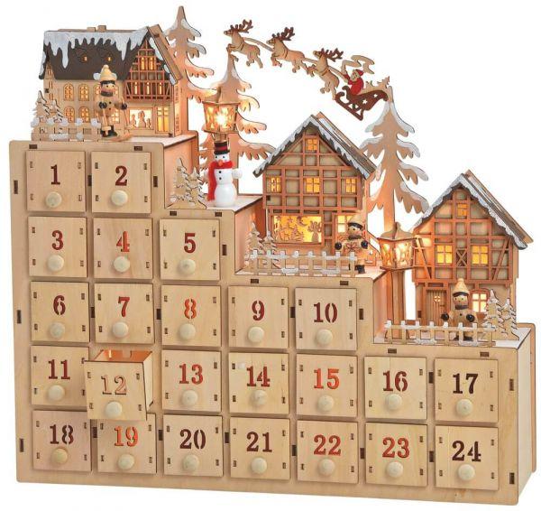 Adventskalender Holz 3D Winter Szenen Figuren & LEDs - Schubladen zum Befüllen