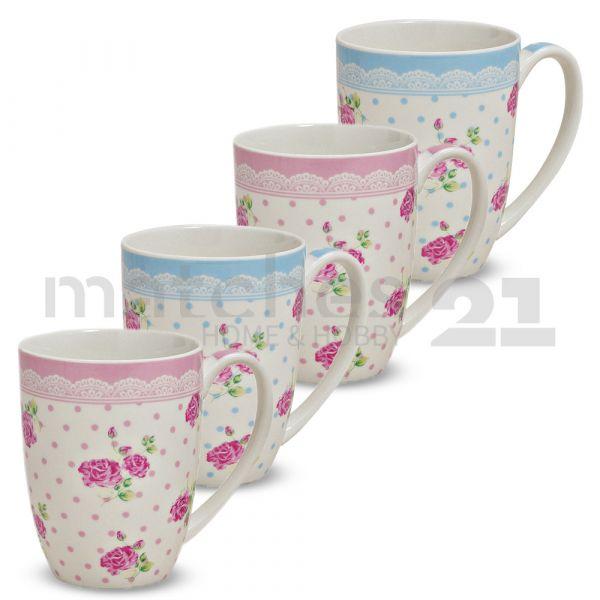 Tasse Becher Kaffeebecher Rosen Dekor rosa / blau Porzellan 300 ml 1 Stk. B-WARE