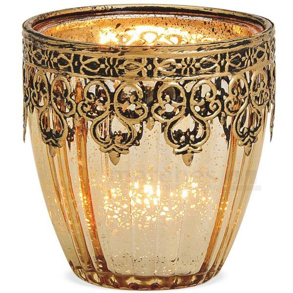 Teelichtglas Windlicht Orientalisch Marokko & Metalldekor gold antik 9 cm