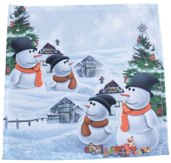 Mitteldecke Tischwäsche Weihnachten Schneemänner Foto Druck weiß bunt 30x30 cm