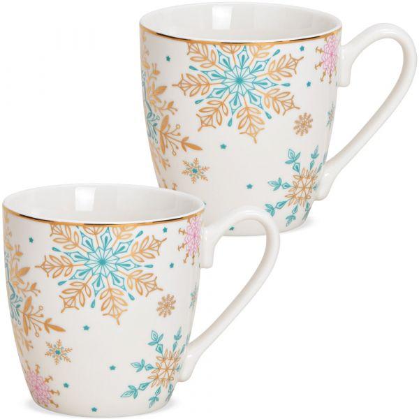 JUMBO Tassen Kaffeebecher Schneeflocken weiß türkis Porzellan 2er Set 350 ml