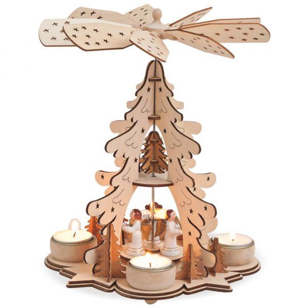 Weihnachtspyramide Tannenbaum & Engel Teelichter Holz 1-stöckig 1 Stk 22x27 cm