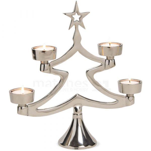 Tannenbaum Weihnachtsbaum Kerzenständer für 4 Teelichter Alu silber glanz 29 cm