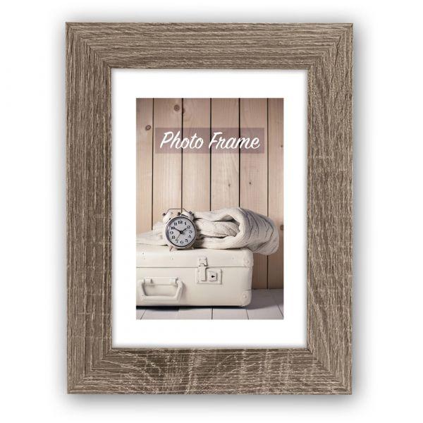 Bilderrahmen Fotorahmen Holz braun Blockprofil leichte Rillenstruktur 10x15 cm