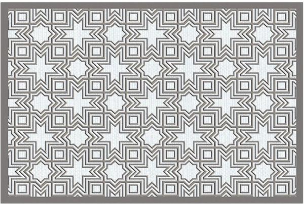Fußmatte Fußabstreifer DECOR Kacheln Retro Stern grau weiß waschbar 40x60 cm