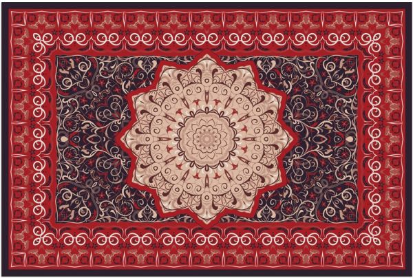 Fußmatte Fußabstreifer DECOR Perser Stern Ornamente rot grau waschbar 40x60 cm
