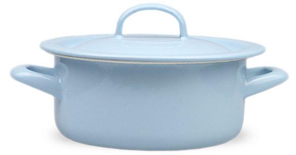 Email Topf mit Deckel Nostalgie Geschirr Retro hellblau creme Ø 16 cm 1500 ml