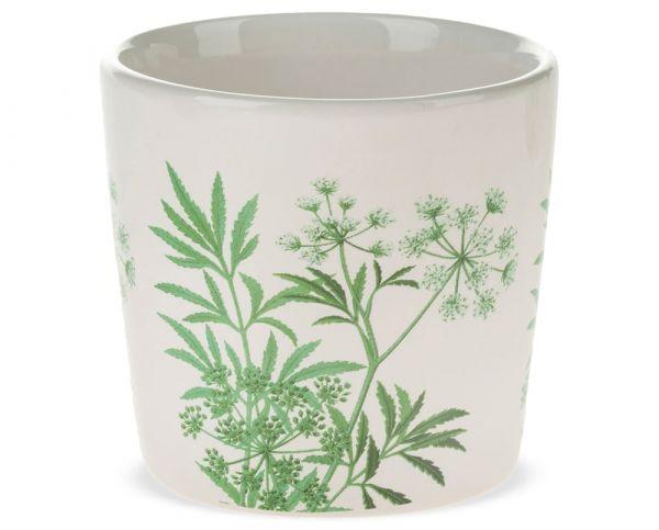 Pflanztopf Keramik Blumentopf Motiv Blätter Floral weiß grün 1 Stk - Ø 9x8,5 cm