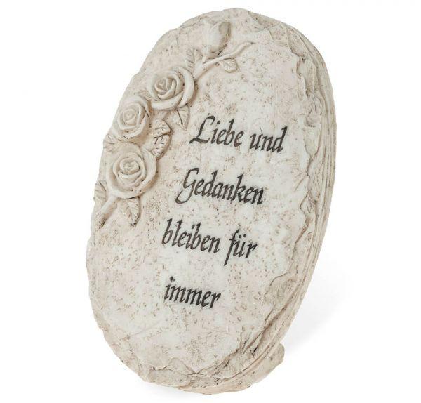 Deko Stein mit Inschrift & Rosen Relief Steinoptik Polyresin zum Stellen 12x16cm