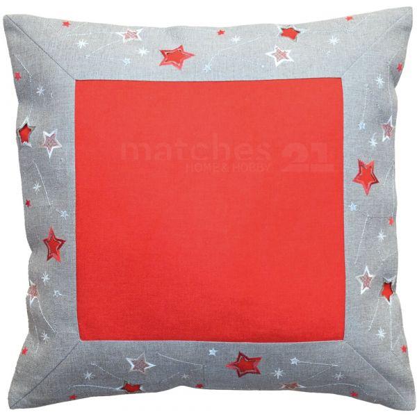 Kissenüberzug Kissenhülle rot hellgrau & Sternen-Bordüre silber Stick 40x40 cm