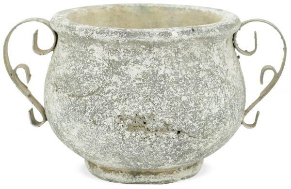 Pflanztopf Blumentopf bauchig Antikoptik Henkel Keramik creme 1 Stk 25x17,5x14 cm