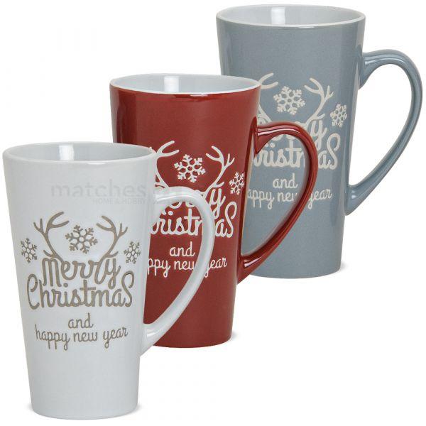Tassen Becher Weihnachtstassen Keramik Merry Christmas 1 Stk. B-WARE 15 cm 350 ml