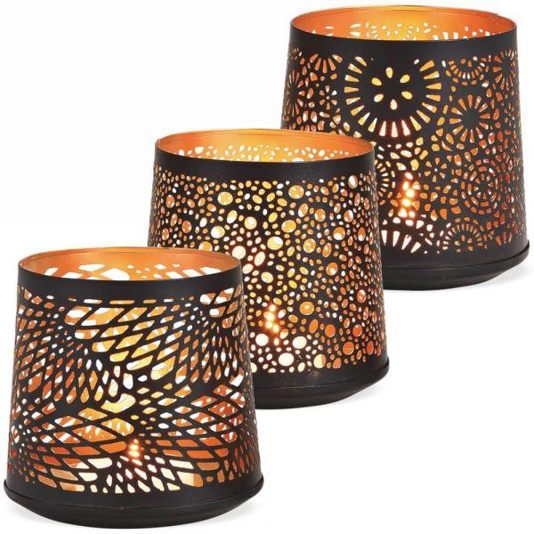 Windlichter Kerzenhalter konische Form mit Lochmuster – schwarz gold – 3er Set