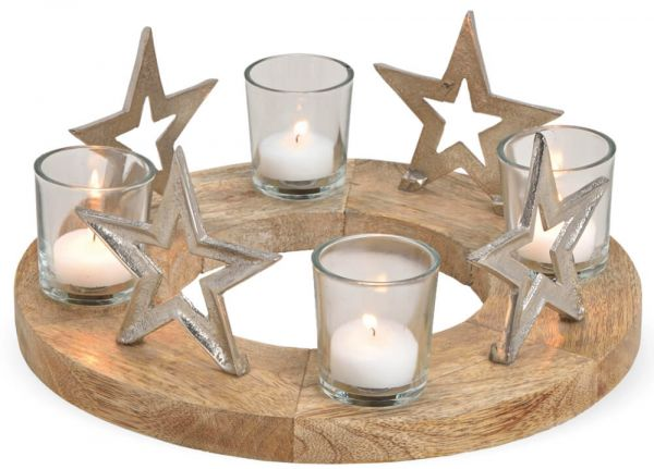 Adventskranz Holz & Sterne Metall & 4x Glas Kerzenhalter Weihnachten Ø 30 cm