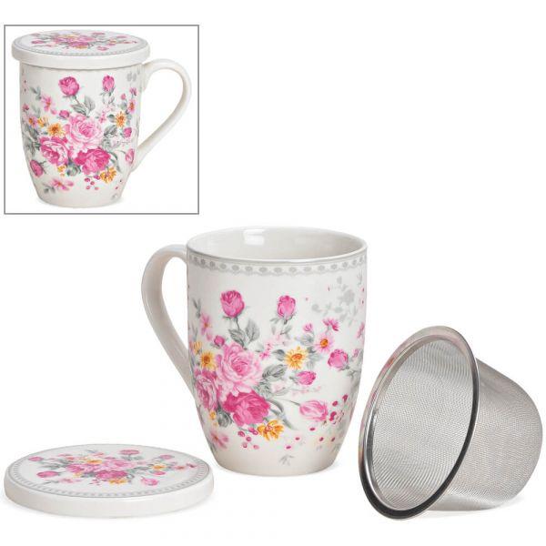 Teetasse Teebecher mit Deckel & Sieb Motiv Blumen Rosen rosa bunt Porzellan 9 cm
