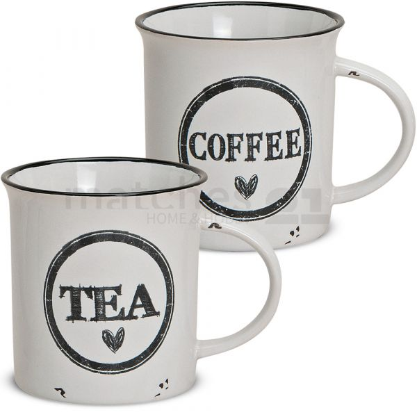 Tasse Becher Emaille-Optik Coffee & Tea Kaffeebecher 1 Stk. B-WARE 9 cm / 300 ml