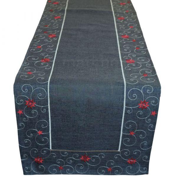 Tischläufer Sterne & Schnörkel Weihnachten dunkelgrau Stick weiß / rot 40x175 cm