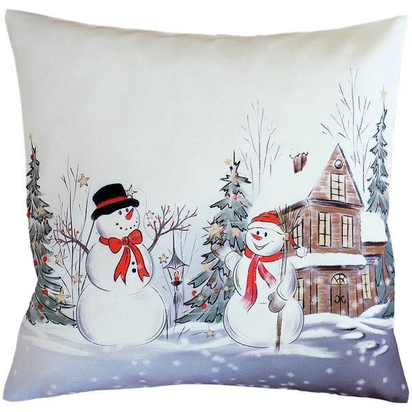 Kissenbezug Kissenhülle Weihnachten Schneemänner Winter Druck 40x40 cm weiß bunt