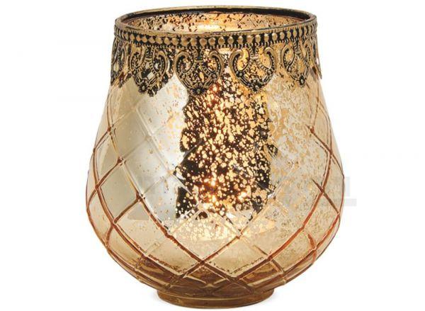 Teelichtglas orientalisch Windlicht gold antik Glas & Metall – in 3 Größen
