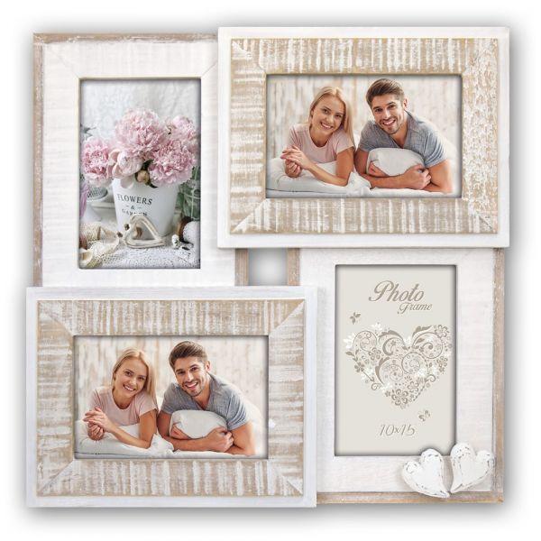 Bilderrahmen Collage Fotorahmen Holz weiß 4 Fotos Vintage & Herz Hochzeit Taufe