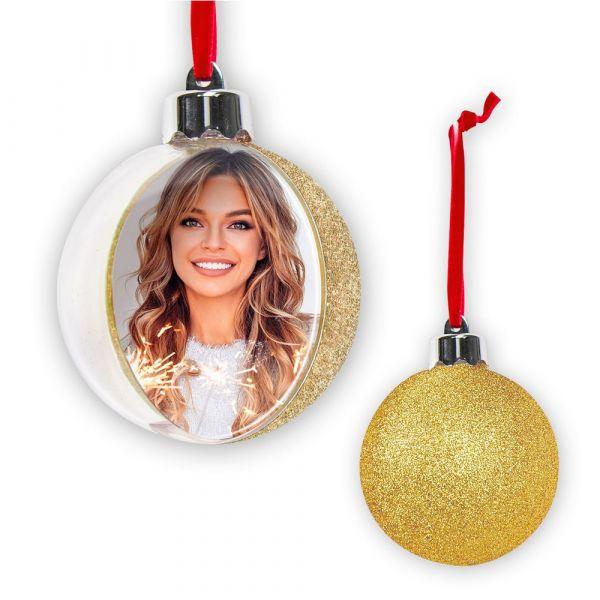 Fotokugel Christbaumkugel Weihnachtskugel Bilderrahmen Glitter 1 Stk - gold