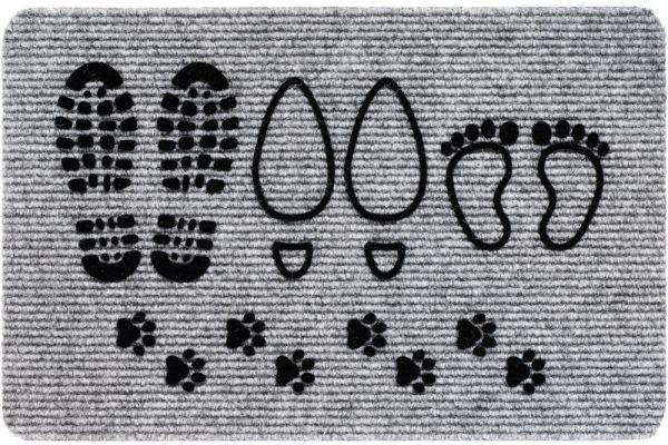 Fußmatte RIPS Nadelfilz Motiv Pfoten Fuß & Schuhabdrücke Indoor 1 Stk - 40x60 cm