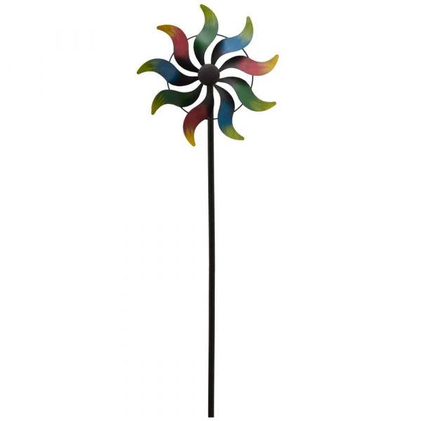 Windrad Gartendeko Metall Stab geschraubt Regenbogen Welle 1 Stk 35x168 cm