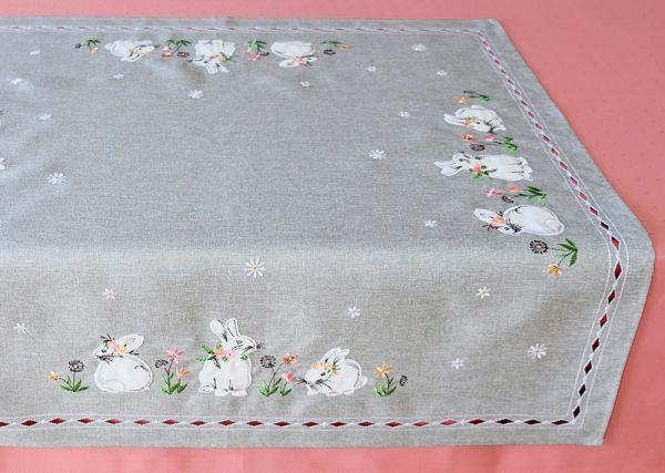 Tischdecke Mitteldecke Osterhasen Blumen Frühling grau Stick bunt 85x85 cm