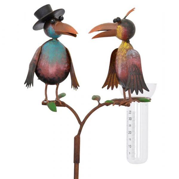 Regenmesser Vögel Zylinder bunt Metall Erdspieß Niederschlagsmesser 1 Stk 127 cm