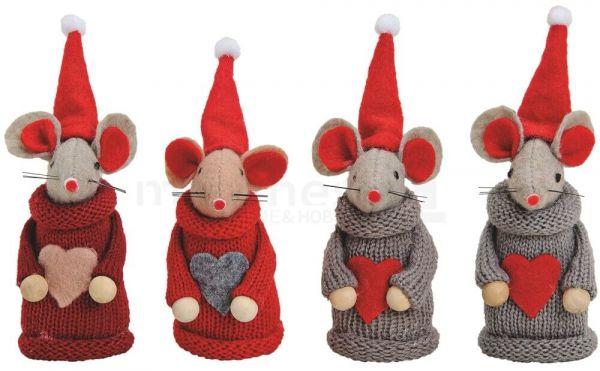 Weihnachtsmäuse Herz & Nikolausmütze grau / rot Dekofigur Advent 4er Set 9 cm