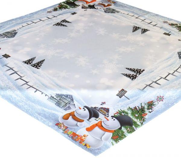 Tischdecke Mitteldecke Weihnachten Schneemänner Foto Druck weiß bunt 110x110 cm