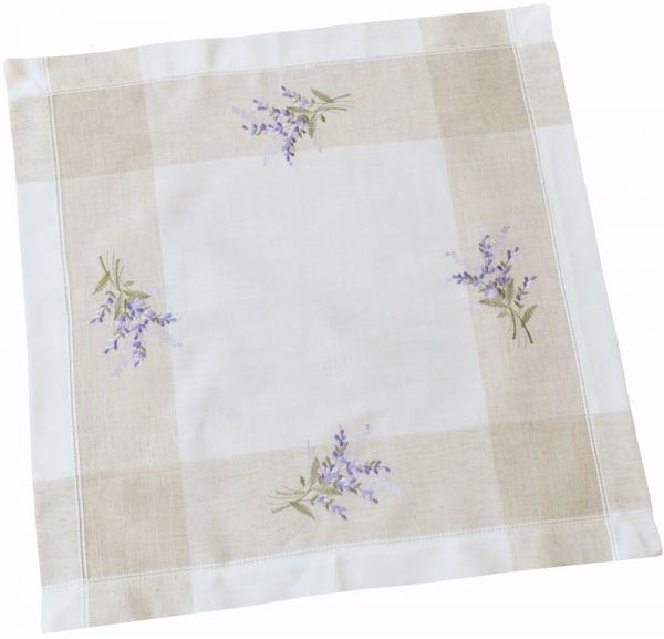 Tischdecke Tischwäsche Lavendel mediterran Leinenoptik beige / lila 60x60 cm